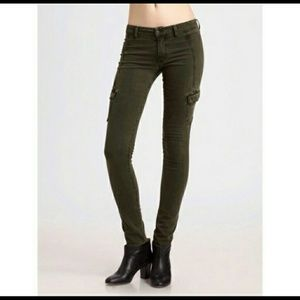 Vince army green cargo skinny jeans